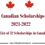 Canadian Scholarships 2021-2022